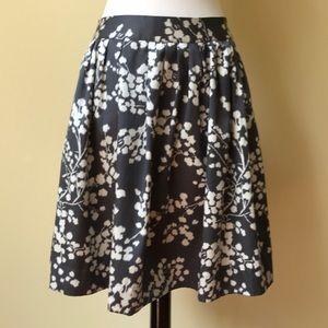 Anthropologie Gray Floral Pattern Silk Skirt NWT